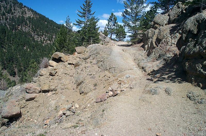 Narrow path with steep dropoff
