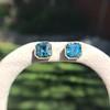 8.41ctw Blue Zircon Asscher Cut Bezel Earrings 5