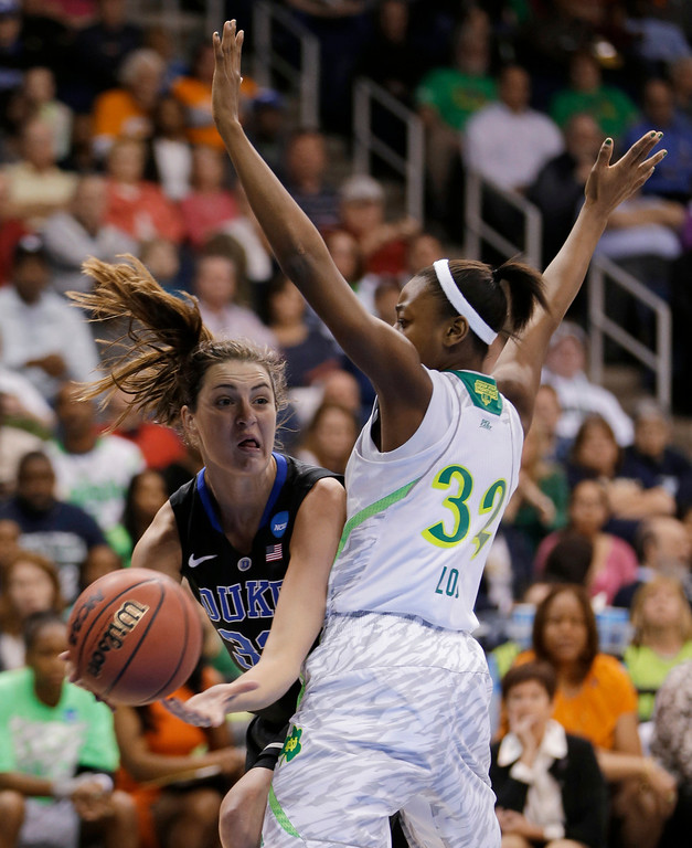 . Duke\'s Haley Peters (33) gets a pass by Notre Dame guard Jewell Loyd during the first half of the regional final of the NCAA women\'s college basketball tournament Tuesday, April 2, 2013, in Norfolk, Va. (AP Photo/Steve Helber)
