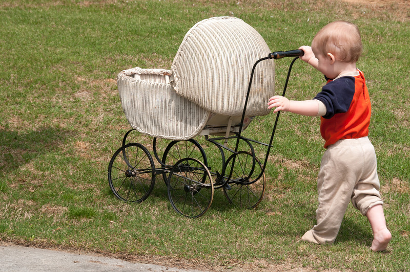 Pushing Granny's Antique Doll Buggy
