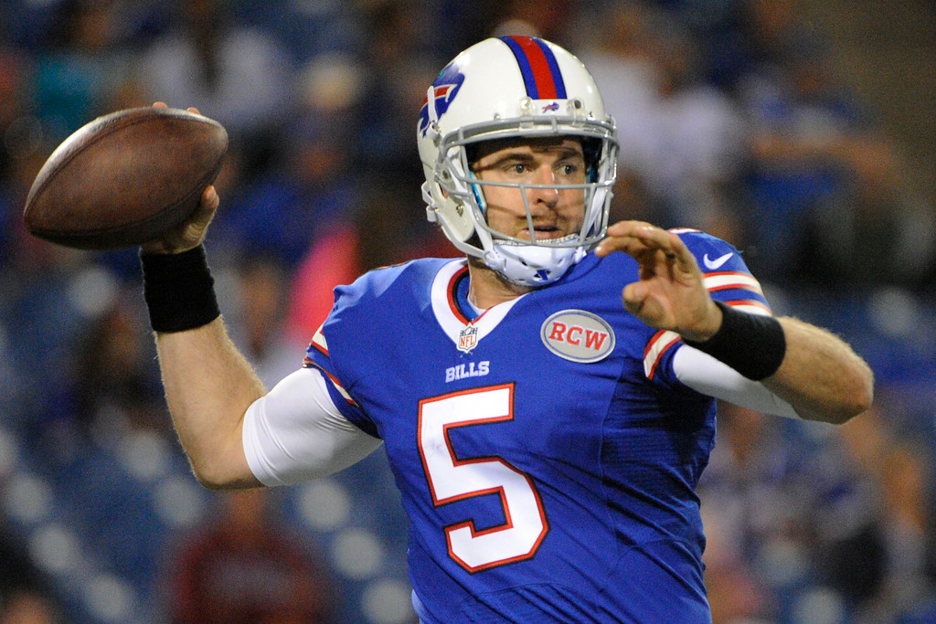 . Buffalo Bills quarterback Jordan Palmer looks to pass against the Detroit Lions during the second half of a preseason NFL football game, Thursday, Aug. 28, 2014, in Orchard Park, N.Y. (AP Photo/Gary Wiepert)