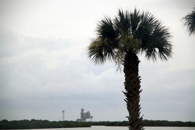 Space Shuttle Atlantis on Launch Pad 39-A, as seen from the Apollo / Saturn V Center