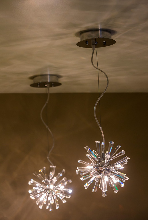 . Crystal burst light fixtures in kitchen of Madhu Charan, in San Mateo, Calif., on Tuesday, Jan. 29, 2013..