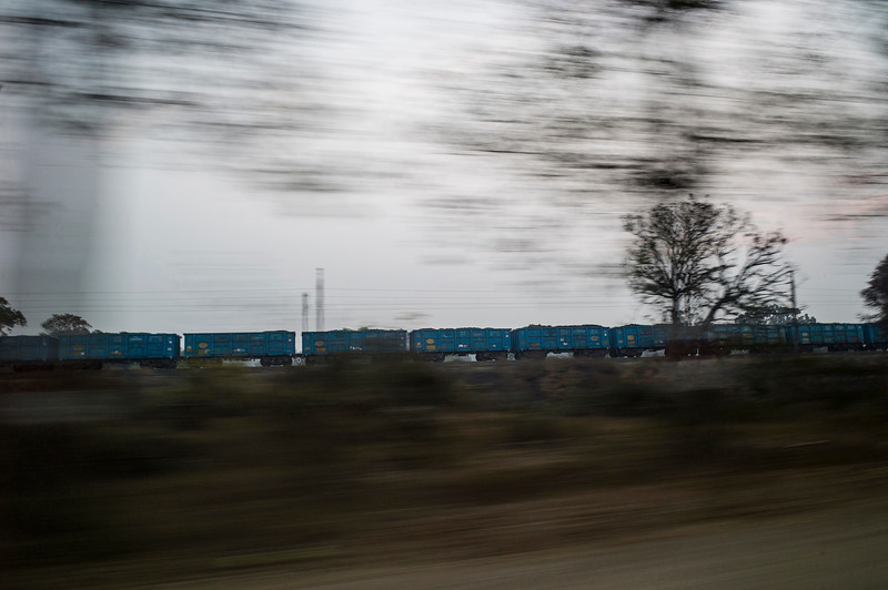 Chattisgarh, India, February 2015:   Rail carriages carry coal from Korba, a nationwide hub for coal and thermal power plants.   Photographs for a story on land allocation for coal mines in Chattisgarh.  Modi's new government in the centre has relaxed the environmental regulations so the land can be allocated to both public and private sector companies easily.   Photo by Sami Siva for Al Jazeera America.