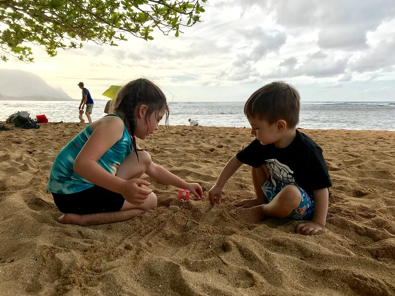 Playing Shopkins in the sand