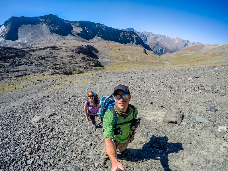 Lina & David Stock hiking in Kyrgyzstan - Best Ultralight Backpacking Gear