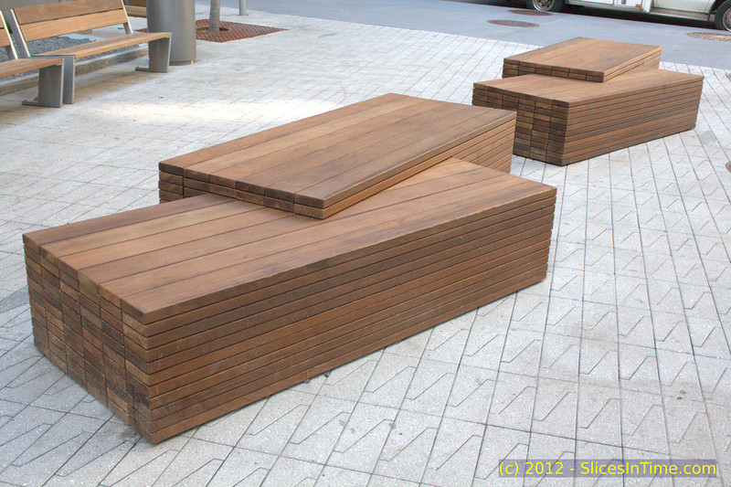 Benches at the plaza outside New York Downtown Hospital.