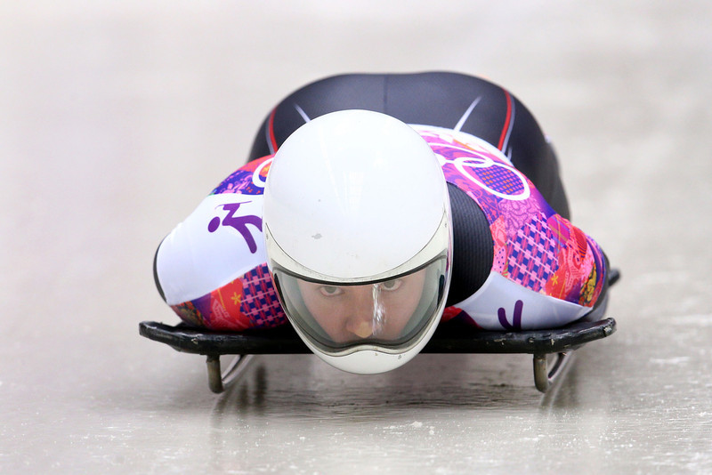 . Kyle Tress of the United States makes a run during the Men\'s Skeleton on Day 8 of the Sochi 2014 Winter Olympics at Sliding Center Sanki on February 15, 2014 in Sochi, Russia.  (Photo by Cameron Spencer/Getty Images)