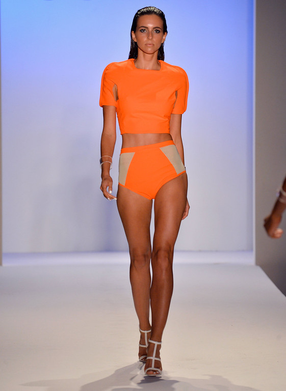 . A model walks the runway at the Suboo show during Mercedes-Benz Fashion Week Swim 2014 at Oasis at the Raleigh on July 19, 2013 in Miami, Florida.  (Photo by Frazer Harrison/Getty Images for Mercedes-Benz Fashion Week Swim 2014)