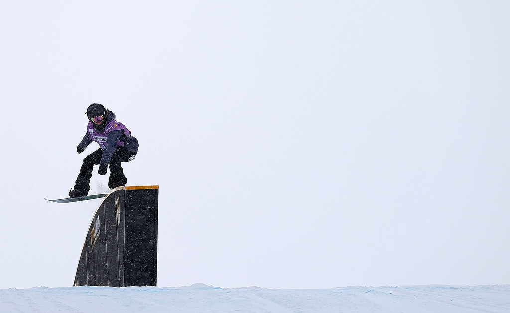 . Lucie Zabranska of the Czech Republic competes during qualifying for the women\'s FIS Snowboard Slopestyle World Cup at U.S. Snowboarding and Freeskiing Grand Prix on December 20, 2013 in Copper Mountain, Colorado.  (Photo by Mike Ehrmann/Getty Images)