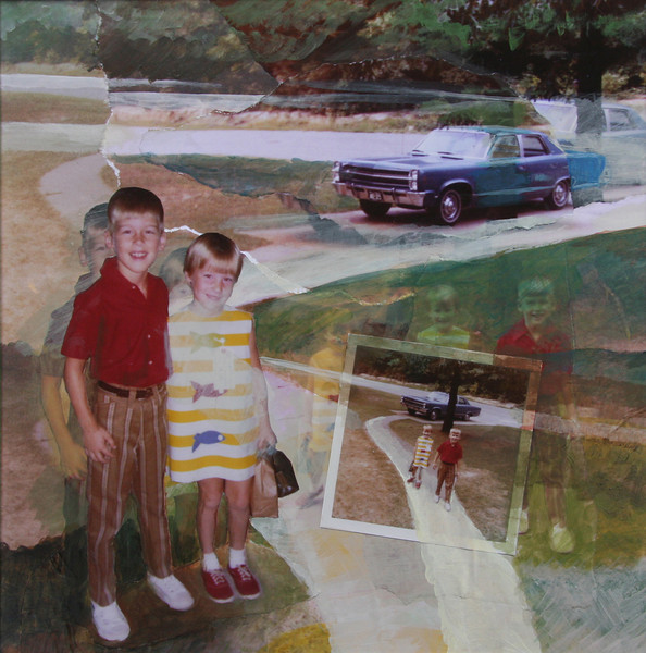 First Day of School, 1970 (My Brother Walked Me To The Bus Stop) Mixed Media Collage, 2009