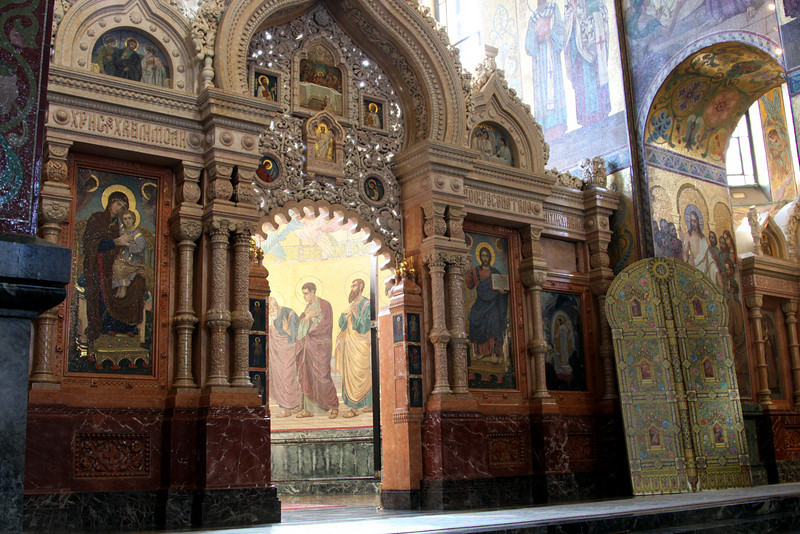 Interior of the Church of the Saviour on Spilled Blood showing the altar.