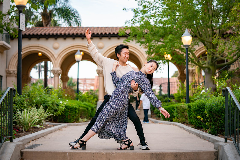 Fun couples photoshoot at Balboa Park in San Diego