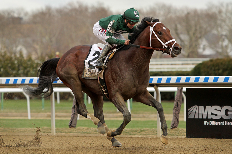 Army Mule (Friesan Fire) and jockey Joe Bravo win the Carter (Gr I) at Aqueduct Racetrack 4/7/18. Trainer: Todd Pletcher. Owner: St. Elias Stable