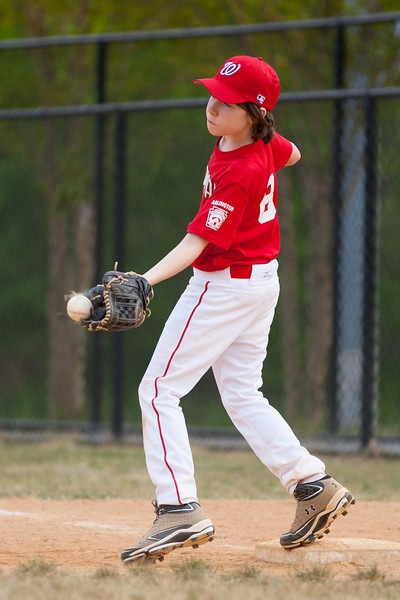 Toby warming up in the bottom of the 5th inning. The Nationals started out their season with a 4-1 win over the Pirates. 2012 Arlington Little League Baseball, Majors Division. Nationals vs Pirates (14 Apr 2012) (Image taken by Patrick R. Kane on 14 Apr 2012 with Canon EOS-1D Mark III at ISO 400, f2.8, 1/2500 sec and 200mm)