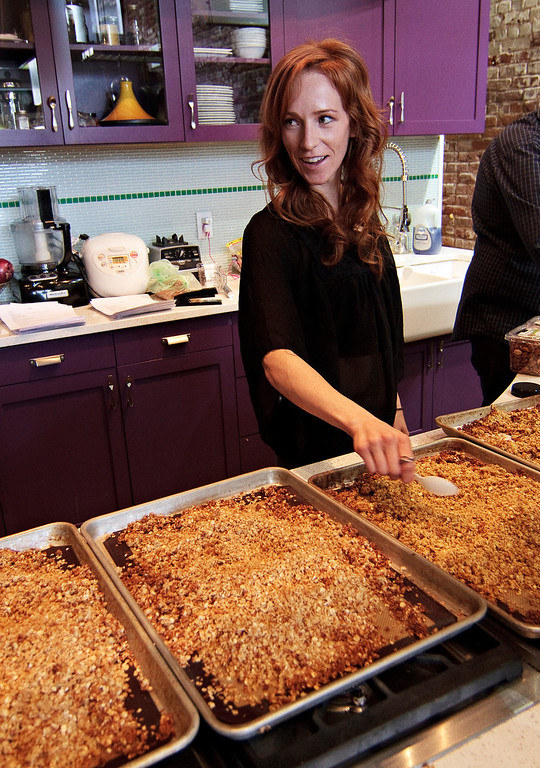 . Chef Dani Fontaine spreads out cannabis-infused, gluten-free trail mix during a cannabis cooking class in Denver, Colorado, on Thursday, April 18, 2013. Participants also cooked up a cannabis-infused quinoa during the class. According to organizers, the food infused with cannabis results in a greater and more-consistant THC effect. The class was one of three offered during World Cannabis Week.  (Werner R. Slocum/MCT)