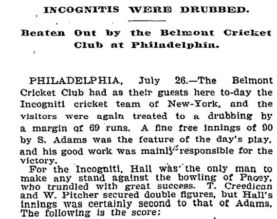 Incogniti (NY) vs Belmont July 1895