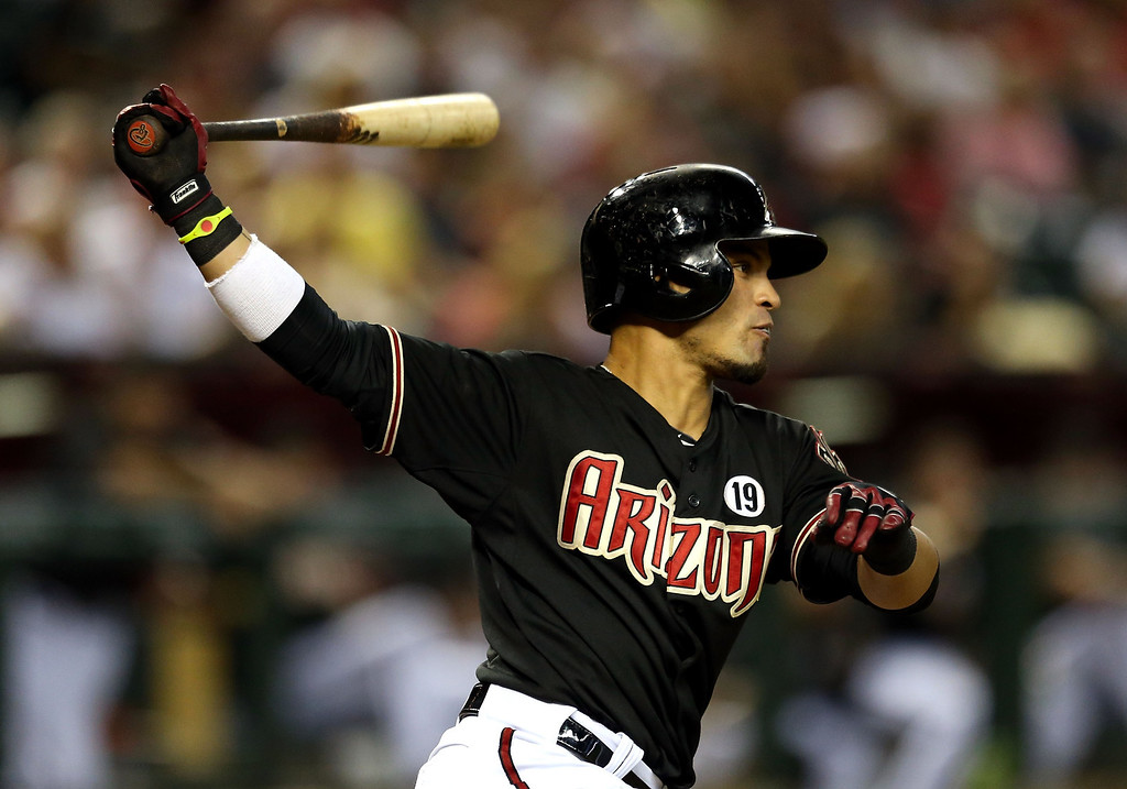. PHOENIX, AZ - JULY 08:  Gerardo Parra #8 of the Arizona Diamondbacks bats against the Los Angeles Dodgers during the MLB game at Chase Field on July 8, 2013 in Phoenix, Arizona.  (Photo by Christian Petersen/Getty Images)
