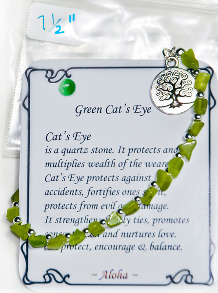 Green Cat's Eye with tree pendant