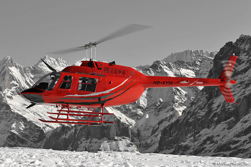 HB-XYW Bell 206B Air Glaciers / Airport Helicopter Basel @ Lauberhorn Switzerland 13Jan07