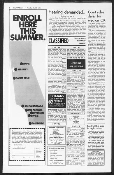 Daily Trojan, Vol. 61, No. 100, April 07, 1970