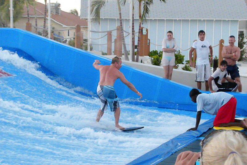 Another brave soul tries the flow rider.