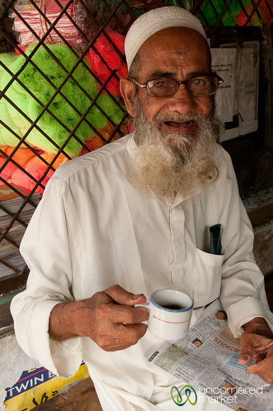 Older Muslim Man Drinking Tea in Market - Rajshahi, Bangladesh
