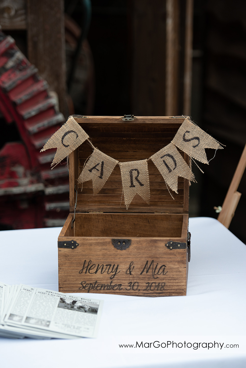 wodden box for wedding card at Long Branch Saloon & Farms in Half Moon Bay