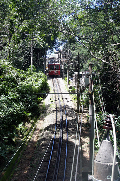 Corcovado Railway, from Cosme Velho to the summit of the Corcovado Mountain at an altitude of 710 m (2330 ft). The line is 3.8 km (2.4 mi) long.The trip takes approximately 20 minutes and departs every half hour, but due to crowds there can be a long wait.  A taxi might be best if time is limited. 2004