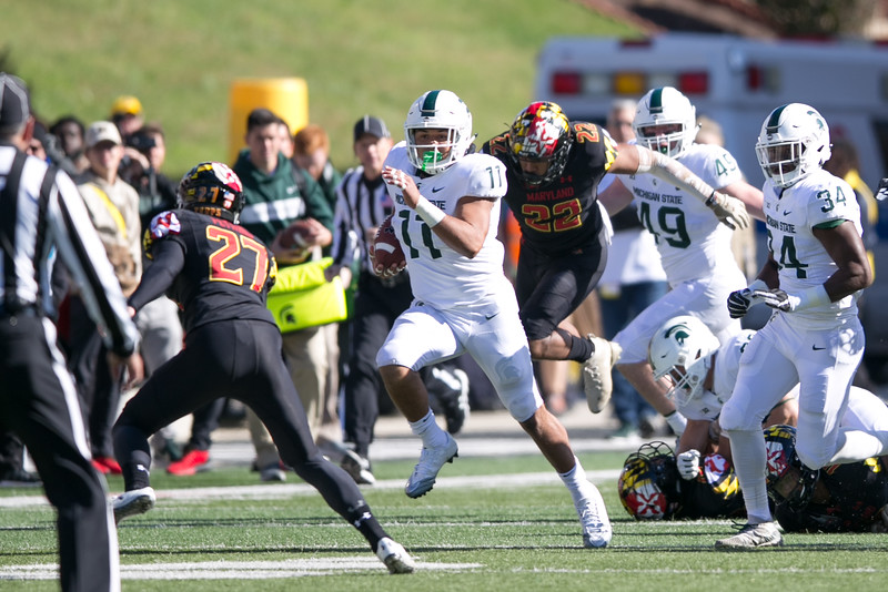 Michigan State RB #11 Connor Heyward breaks a run against Maryland