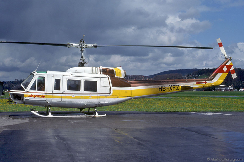 HB-XFZ Bell 205A1 Air Grischa @ Bern Switzerland 16Apr90