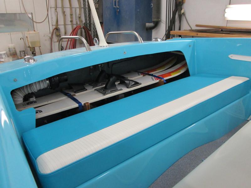 Skis installed in the ski rack.