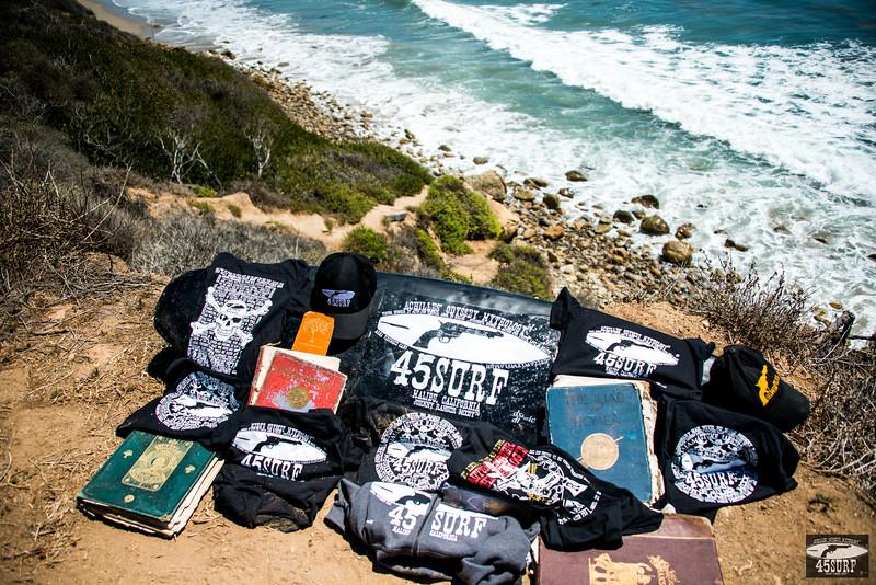 Nikon D800E Photos of 45surf Surfboard, Hats, Hoodies, T-shirts, and Shirts on a Malibu Bluff above La Piedra Beach!