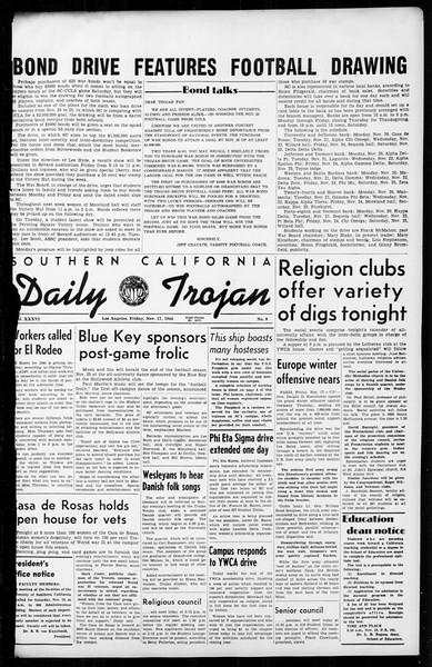 Daily Trojan, Vol. 36, No. 9, November 17, 1944