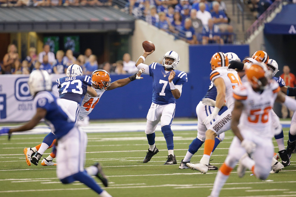. Indianapolis Colts quarterback Jacoby Brissett (7) throws against the Cleveland Browns during the first half of an NFL football game in Indianapolis, Sunday, Sept. 24, 2017. (AP Photo/AJ Mast)