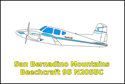 San Bernardino Mountains Beechcraft 95 Travelaire N2055C 8/24/12