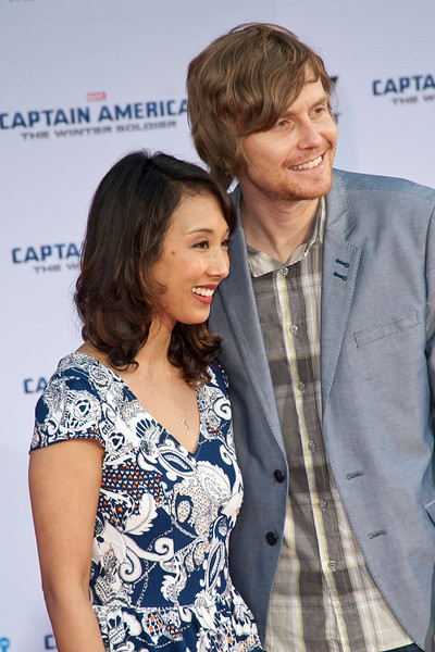 HOLLYWOOD, CA - MARCH 13: Actress Maurissa Tancharoen and Screenwriter Jed Whedon arrive at Marvel's 'Captain America: The Winter Soldier' premiere at the El Capitan Theatre onThursday,  March 13, 2014 in Hollywood, California. (Photo by Tom Sorensen/Moovieboy Pictures)
