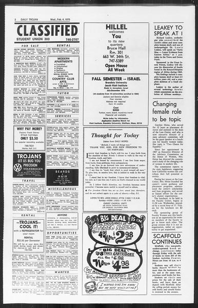 Daily Trojan, Vol. 61, No. 67, February 04, 1970