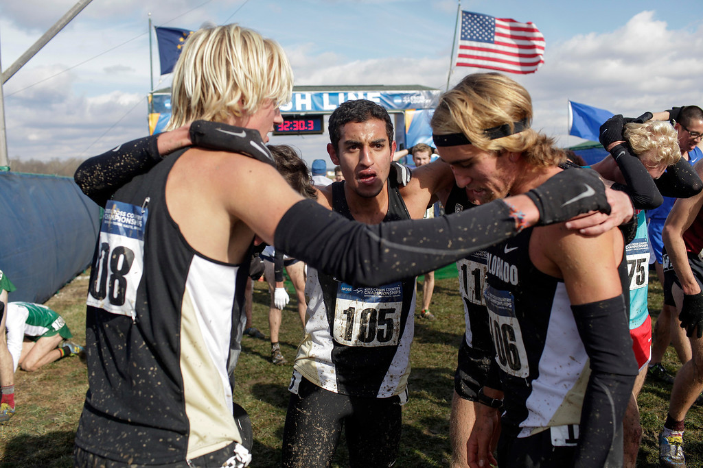 . TERRE HAUTE, IN - NOVEMBER 23: Members of the University of Colorado men\'s cross country team, including Ammar Moussa, center; Pierce Murphy, right; and Zach Perrin, left, celebrate after winning the NCAA Cross Country Championships at Lavern Gibson Championship Course on Saturday, November 23, 2013, in Terre Haute, Indiana. (Photo by Aaron P. Bernstein/Special to The Denver Post)