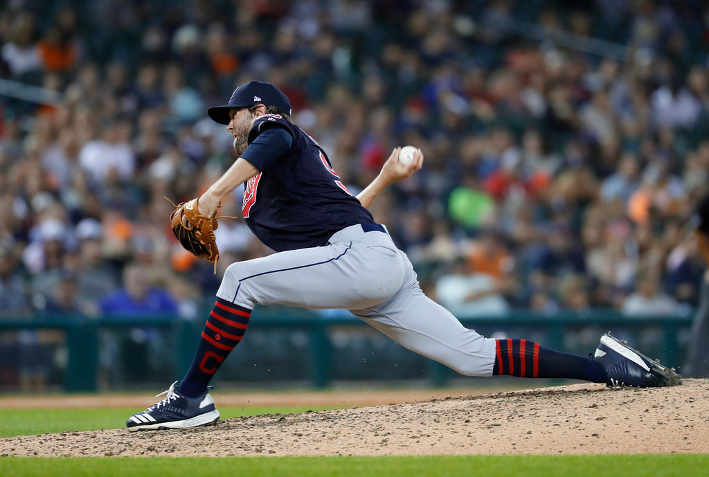 . Cleveland Indians relief pitcher Adam Cimber throws against the Detroit Tigers in the eighth inning of a baseball game in Detroit, Friday, July 27, 2018. (AP Photo/Paul Sancya)