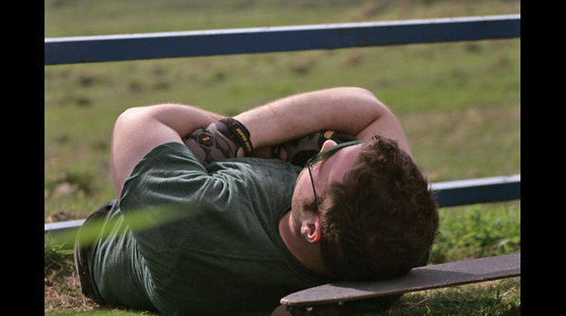 . Kevin takes a roadside nap in Hawaii.