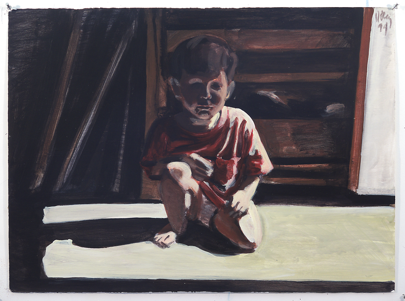 Untitled (crouching child); acrylic on paper, 22 x 30 in, 1994