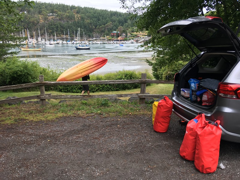 Deer Harbor marina; Car vomits dry bags