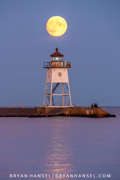 Full Corn Moon over the Grand Marais Lighthouse