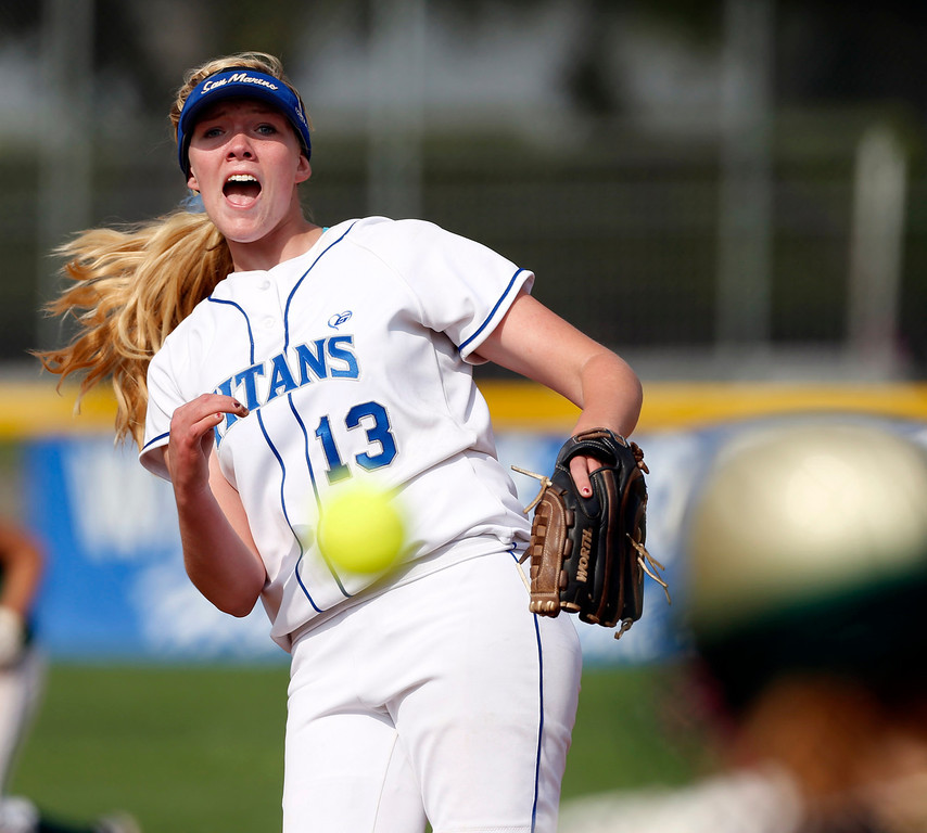 . Michelle Floyd of San Marino High School pitches against Temple City High School during a softball game at San Marino High School in San Marino, March 19, 2013. (Correspondent photo by Larry Goren/Sports)
