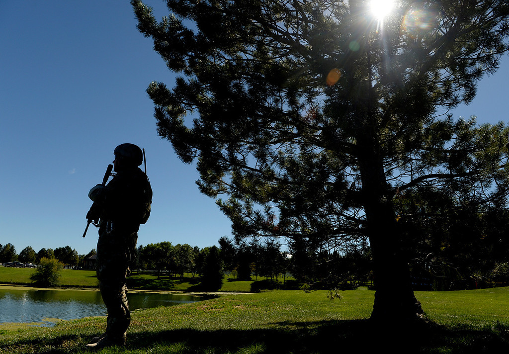 . DENVER, CO. - OCTOBER 02: Members of the Special Forces performed an Honor Patrol during a burial ceremony for Colorado National Guard Special Forces Soldier Liam Nevins  at Fort Logan National Cemetery in Denver,CO October 02, 2013. (Photo By Craig F. Walker / The Denver Post)