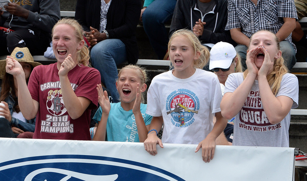 . Fans cheer on athletes during the CIF Southern Section track and final Championships at Cerritos College in Norwalk, Calif., on Saturday, May 24, 2014.   (Keith Birmingham/Pasadena Star-News)