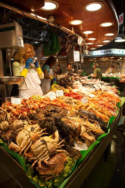 Seafood, Boqueria market, town of Barcelona, autonomous commnunity of Catalonia, northeastern Spain
