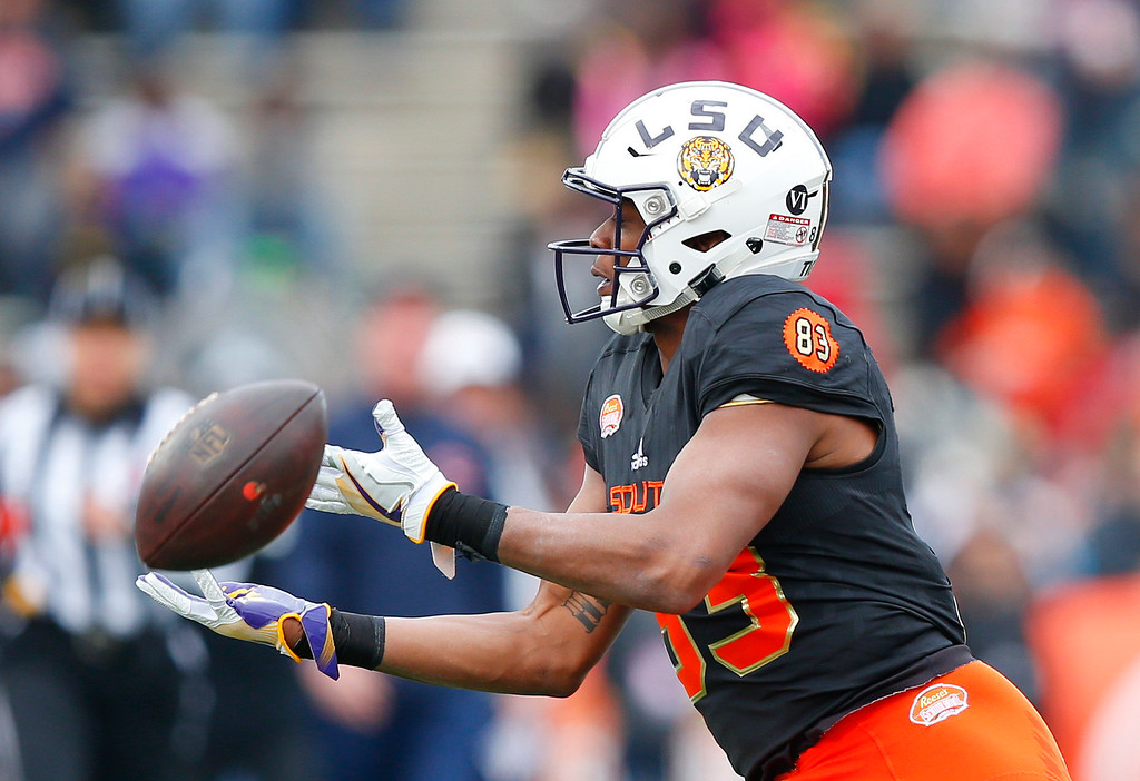 . South squad wide receiver Travin Dural of LSU (83) misses the ball against the North squad during the first half of the Senior Bowl NCAA college football game, Saturday, Jan. 28, 2017, at Ladd�Peebles Stadium, in Mobile, Ala. (AP Photo/Brynn Anderson)