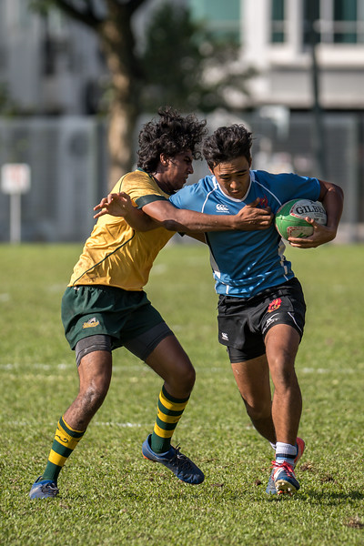 Garden International School in action at the SEASAC Rugby Tournament, Alice Smith School, Kuala Lumpur 4th February 2018. Photo by Tom Kirkwood/SportDXB